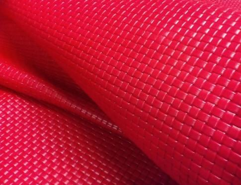 Галантерейная кожа КРС  (плетенка) красного цвета