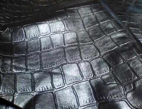 Галантерейная кожа КРС Черный крокодил