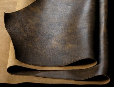 Галантерейная кожа КРС- крэк коричнево - оливковый