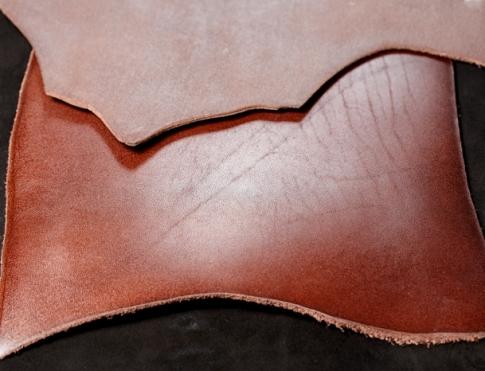 Галантерейная кожа КРС - пола конъячная