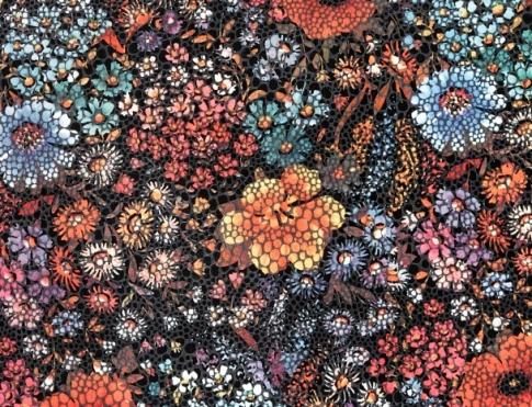 Обувная кожа Спилок темные цветы lazer 14(4)