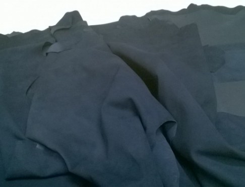 Обувная кожа Велюр темно синий